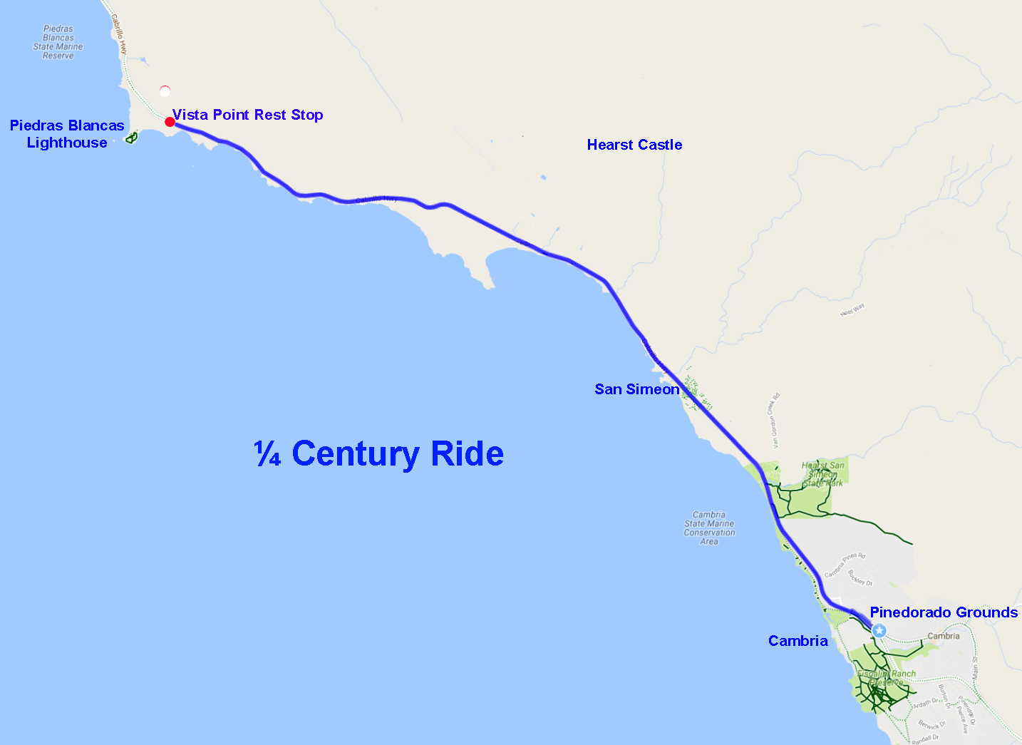 Country Coast Classic Bike Ride Cambria On The Beautiful - Map of us highway rest stops